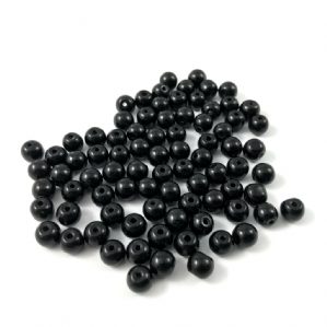 100 Glass Round Beads 6mm Jet